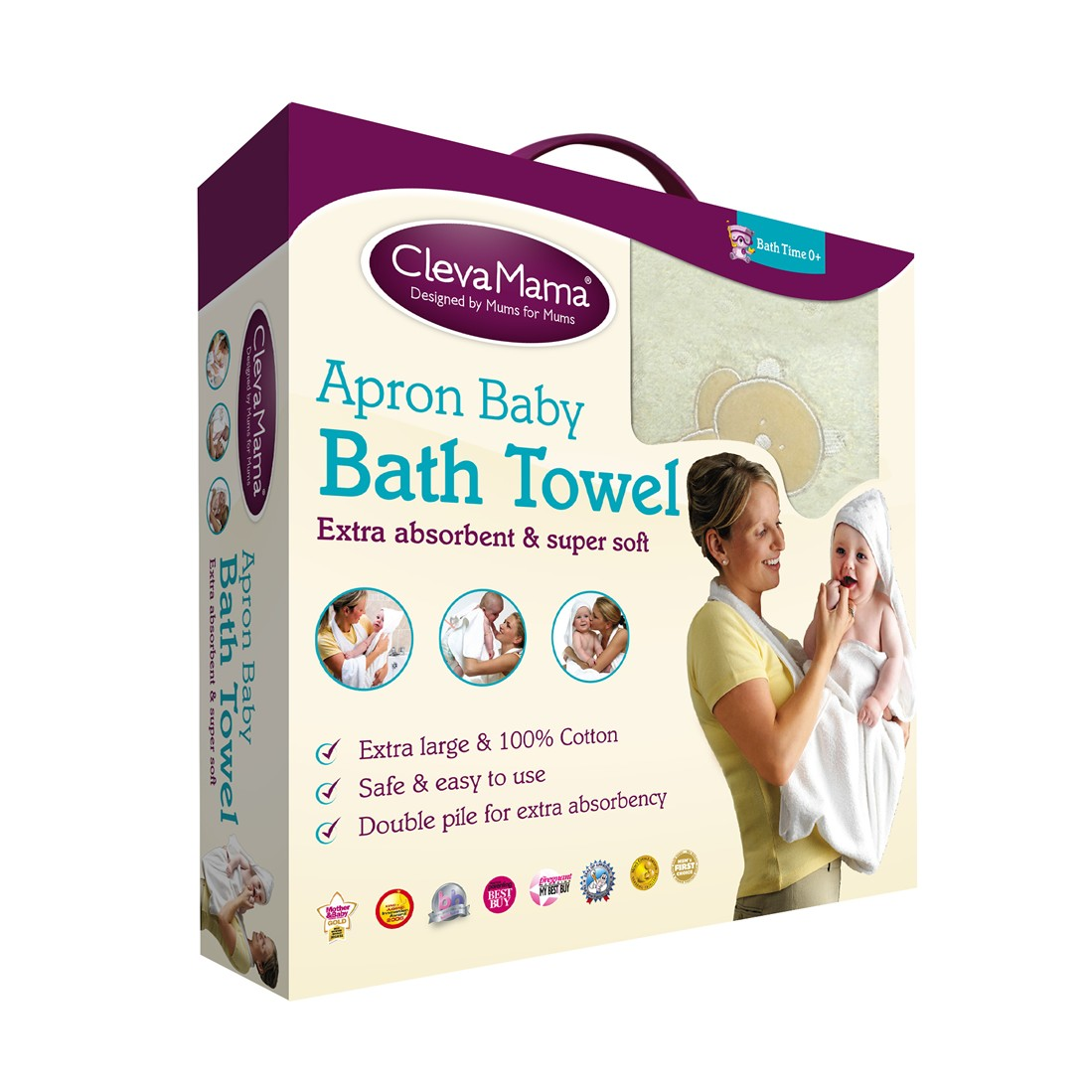 ClevaMama Apron Baby Bath Towel White